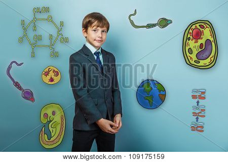 Teenage boy smiling businessman standing arms crossed icon set E