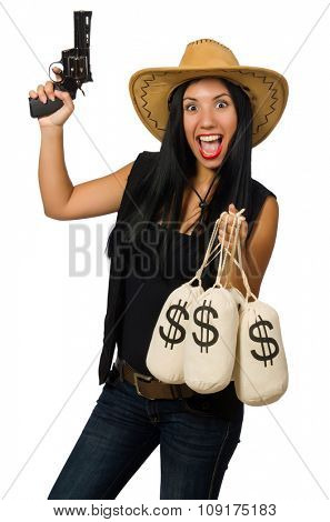 Young woman with gun and money sacks