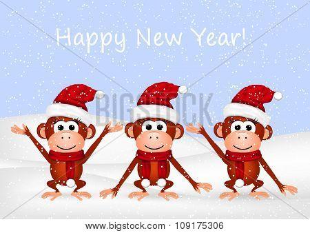Funny monkeys on snow background.