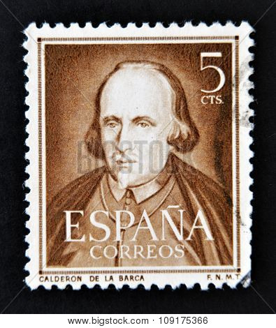 A stamp printed in Spain shows dramatist poet and writer Pedro Calderon de la Barca
