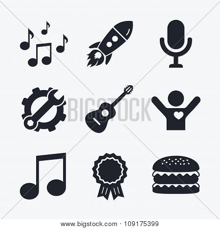 Music icons. Microphone, Acoustic guitar.