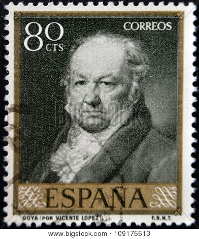 SPAIN - CIRCA 1958: A stamp printed in Spain shows painter Francisco Goya after Vicente Lopez