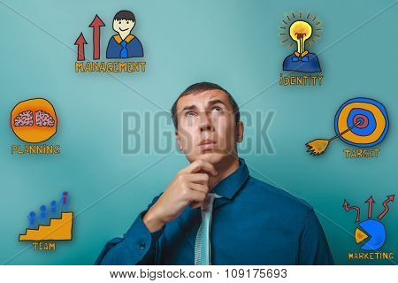 the man businessman holds his hand on chin looking up thinking c