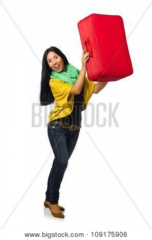 Woman travelling isolated on white