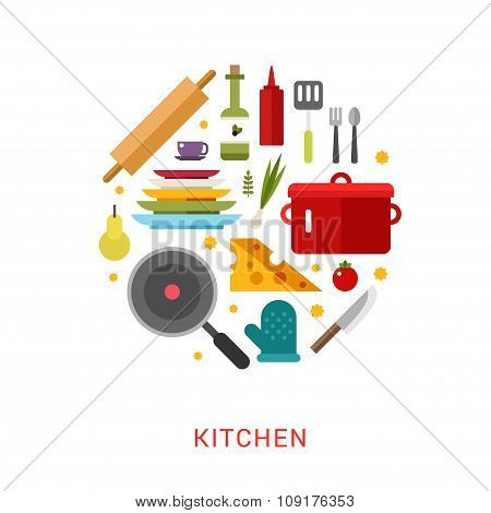Kitchen Appliances And Objects In The Shape Of Circle. Cookware, Food, Fruits, Vegetables, Bottles.