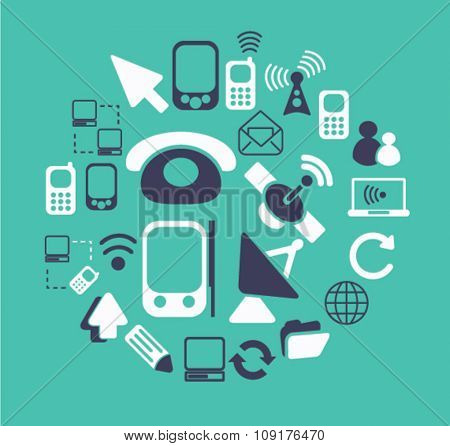 communication, connection, technology, mobile icons, signs vector set for infographics, mobile, website, application