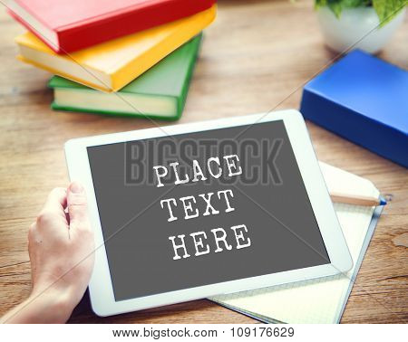 Digital Tablet Working Commercial Technology Copy Space Concept