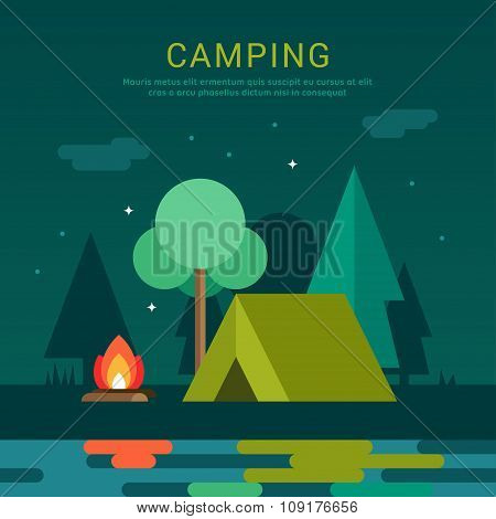 Mountain Camp. Tourist Tent And Bonfire On The Shore At Night.  Vector Illustration In Flat Design S