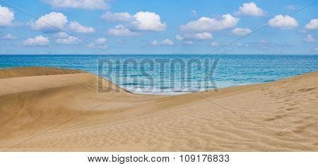 Sand desert dunes and sea