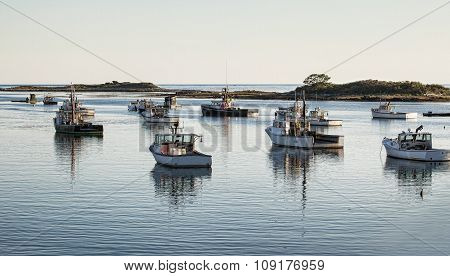 Fishing Boats Prepared To Go Out In The Morning