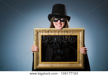 Woman wearing mask in art concept