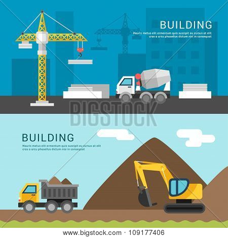 Building Concept. Crane And Cement Mixers. Dump Truck And Excavator. Vector Illustration In Flat Des