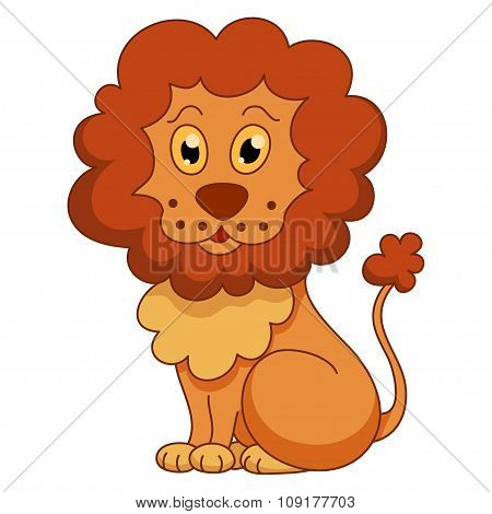 Curly cartoon lion with fluffy mane