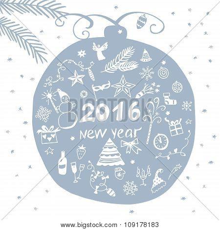 Illustration for holiday celebration happy new year 2016