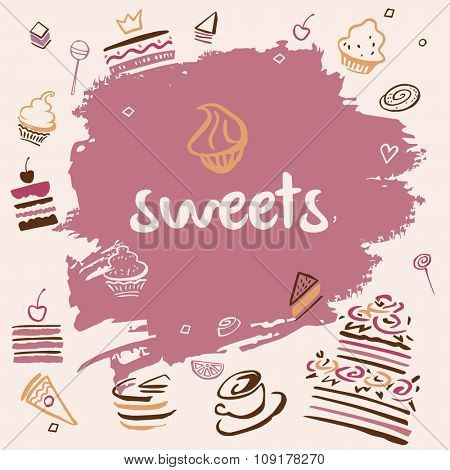 Banner hand-drawn sweets.
