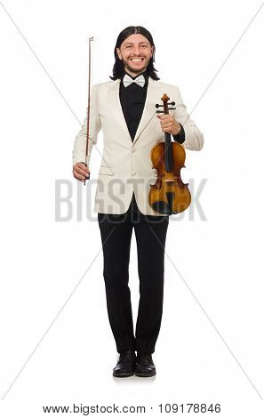 Man with violin playing on white