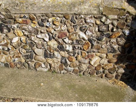 Flint in church wall