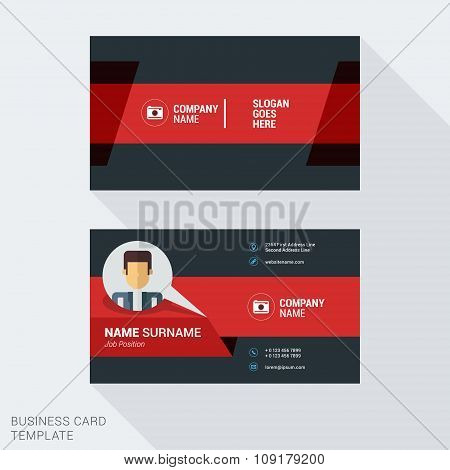 Modern Creative And Clean Business Card Template In Red Color With Cartoon Character Businessman. Pl