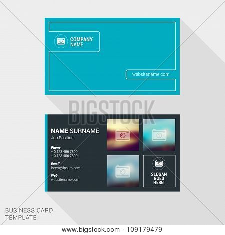 Modern Creative And Clean Business Card Template For Photographer With Place For Photos. Flat Style