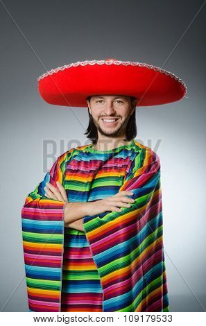 Funny mexican wearing sombrero hat