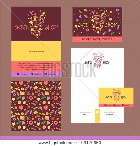 Vector stationery template design for cafe, shop, confectionery