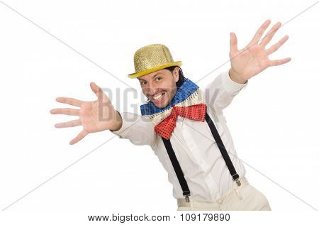 Man in funny concept isolated on white