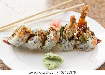 Shrimp Tempura Avocado Sushi Roll
