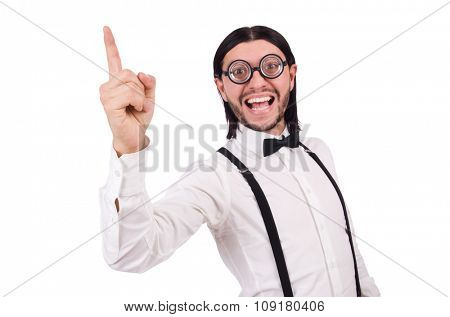 Man wearing suspenders isioated on white