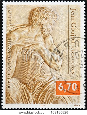 FRANCE - CIRCA 1999: A stamp printed in France shows a sculpture by Jean Goujon circa 1999