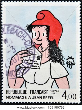 FRANCE - CIRCA 1983: A stamp printed in France dedicated to Jean Effel circa 1983