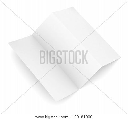 Open blank paper booklet on white