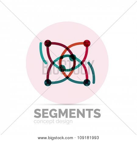 Abstract geometric linear hipster floral icon, frame design, flat style. logo design element.