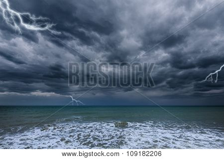 Dark Stormy Sky Above The Ocean.