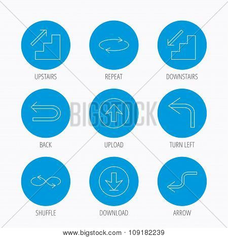 Arrows icons. Download, repeat linear signs.