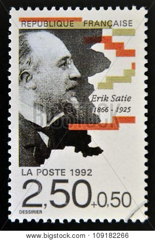 FRANCE - CIRCA 1992: A stamp printed in France shows Erik Satie circa 1992