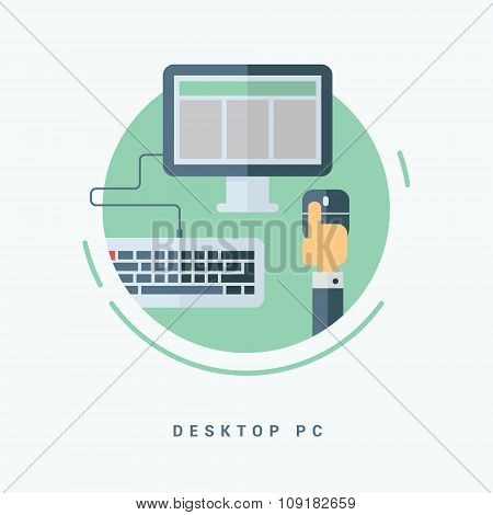 Flat Style Vector Illustration. Desktop Pc Concept. Hand With Computer Mouse, Monitor And Keyboard