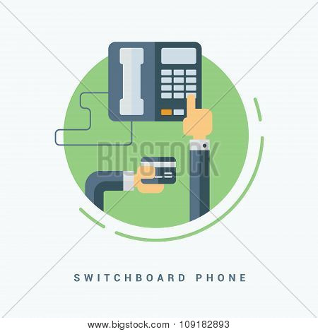 Flat Style Vector Illustration. Switchboard Phone Concept. Human Hands Holding Business Card And Pre