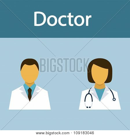 Doctor, Medical Staff, Occupation, People, Flat Icon, Vector