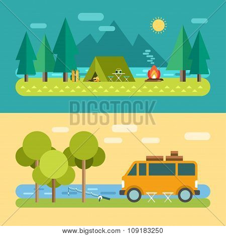 Camp Concept. Tourist Tent On The Lake. Minivan On The River, Fishing. Vector Illustration In Flat D
