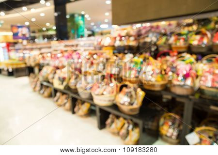 Blur Of Defocus Background Of Newyear Gift Basket