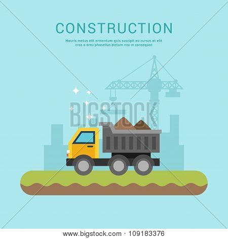 Building Concept. Dump Truck. Vector Illustration In Flat Design Style For Web Banners Or Promotiona