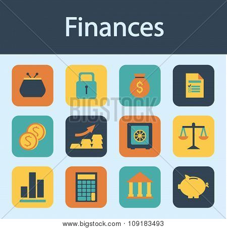 Money, Finance, Flat Design Icons Set Vector
