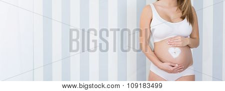 Love Symbol On Belly