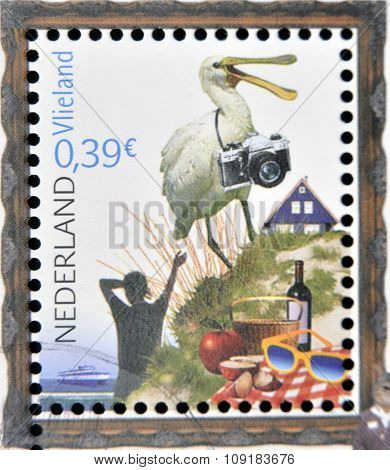 HOLLAND - CIRCA 2006: A stamp printed in Netherlands dedicated to beautiful Holland shows Vlieland