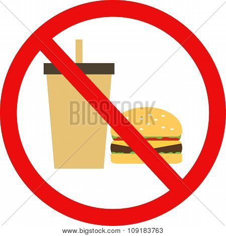 Prohibited Burger With A Drink Flat Vector Icons