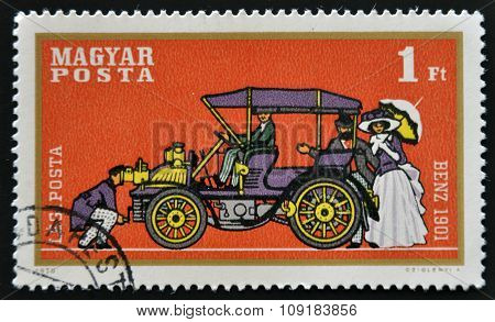HUNGARY - CIRCA 1970: stamp printed in Hungary show retro car Benz 1901 circa 1970.