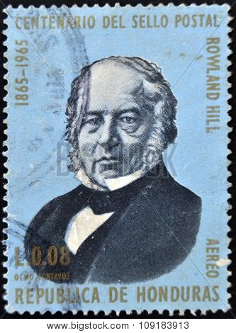 HONDURAS - CIRCA 1965: A stamp printed in Honduras shows Sir Rowland Hill circa 1965