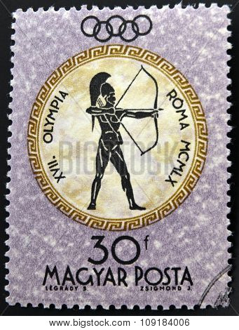 A stamp printed in Hungary shows archer devoted to the Olympic games in Rome