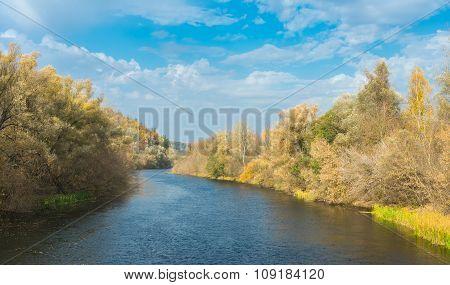 Aautumnal landscape on a Psel river in Sumskaya oblast Ukraine