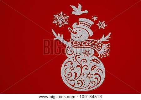 Christmas Decoration On Isolated Red.horizontal.